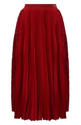 Женская плиссированная юбка VALENTINO красного цвета, арт. VB3MD02T668 | Фото 1