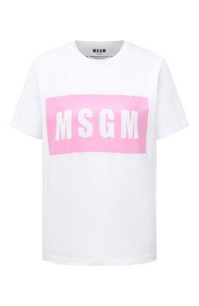 Женская хлопковая футболка MSGM белого цвета, арт. 3041MDM95 217298 | Фото 1