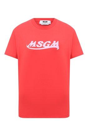 Женская хлопковая футболка MSGM красного цвета, арт. 3041MDM173 217298 | Фото 1