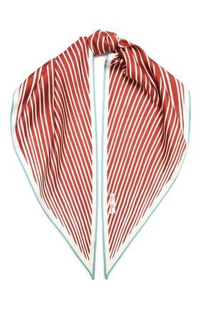 Женский шелковый платок LORO PIANA красного цвета, арт. FAL6131 | Фото 1 (Материал: Текстиль, Шелк; Принт: С принтом)