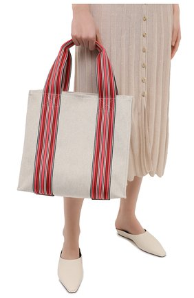 Женский сумка suitcase stripe LORO PIANA красного цвета, арт. FAL6435 | Фото 2 (Материал: Текстиль; Размер: medium; Сумки-технические: Сумки-шопперы)