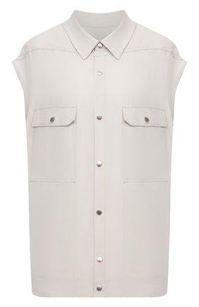 Женская рубашка из вискозы RICK OWENS светло-серого цвета, арт. RP21S3725/Y   Фото 1