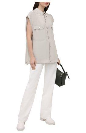 Женская рубашка из вискозы RICK OWENS светло-серого цвета, арт. RP21S3725/Y   Фото 2