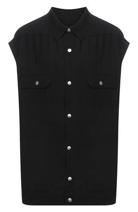 Женская рубашка из вискозы RICK OWENS черного цвета, арт. RP21S3725/Y   Фото 1