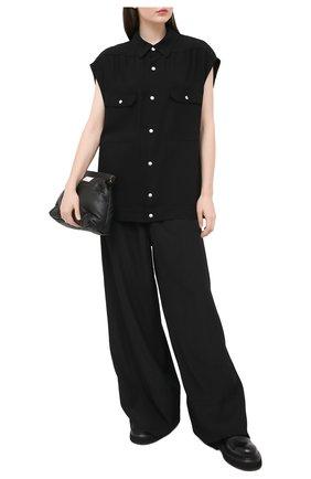 Женская рубашка из вискозы RICK OWENS черного цвета, арт. RP21S3725/Y   Фото 2