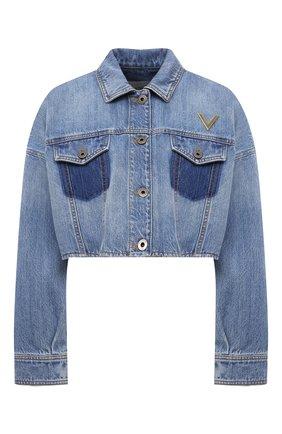 Женская джинсовая куртка VALENTINO синего цвета, арт. VB3DC01Y559 | Фото 1