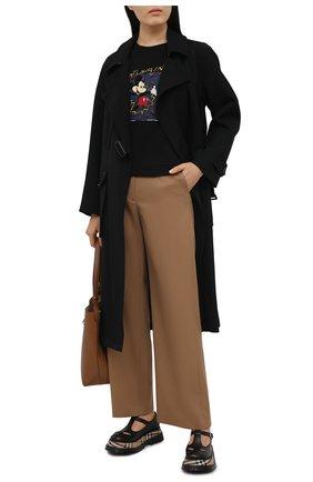 Женская хлопковая футболка SAINT LAURENT черного цвета, арт. 631852/YBVX2   Фото 2