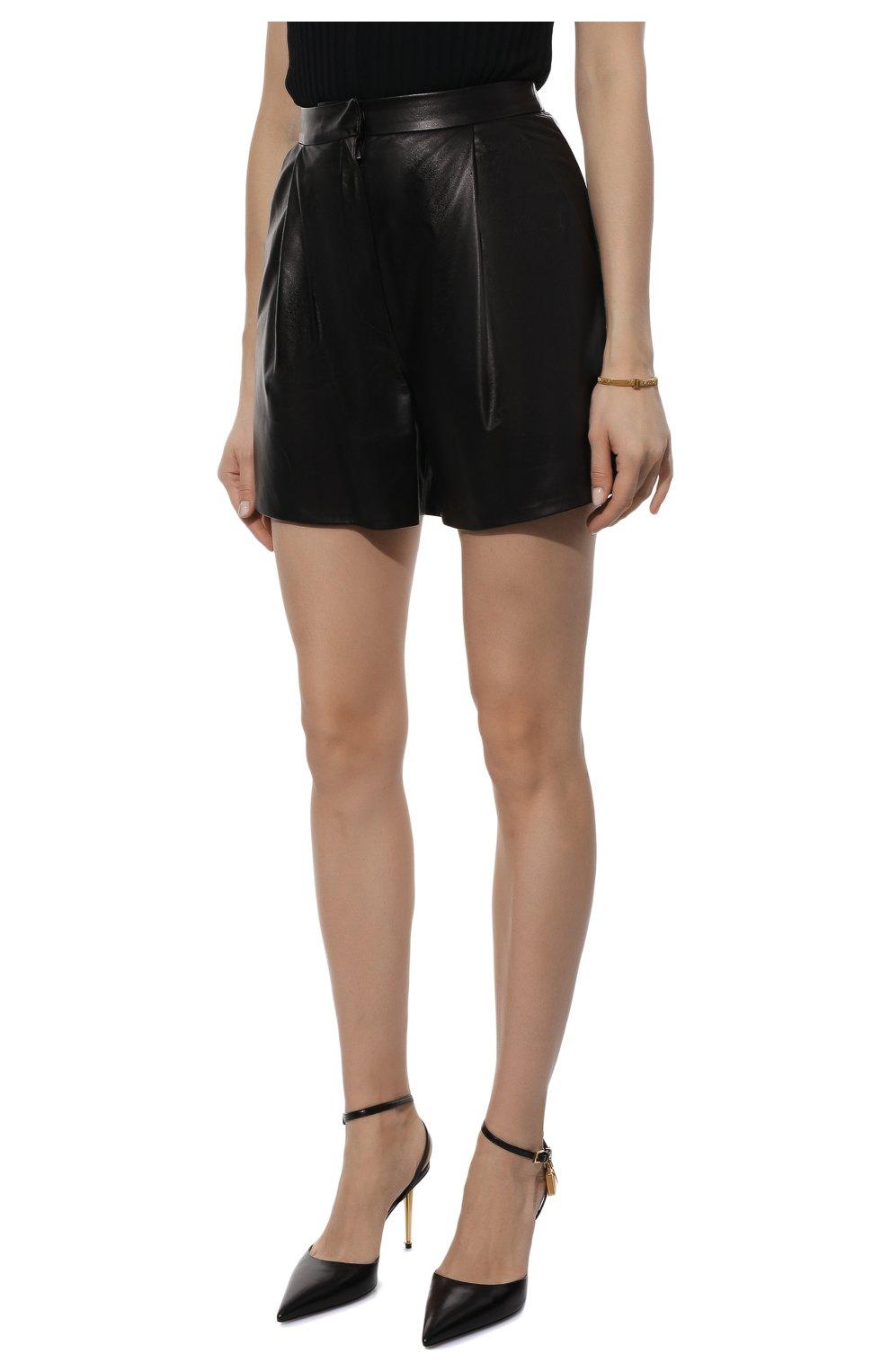 Женские кожаные шорты DROME черного цвета, арт. DPD7013P/D400P | Фото 3