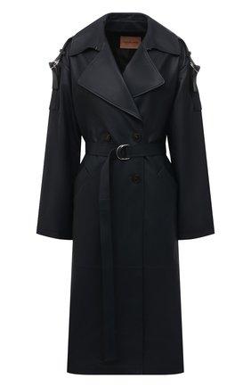 Женский кожаный плащ YVES SALOMON темно-синего цвета, арт. 21WYM20819APXX | Фото 1