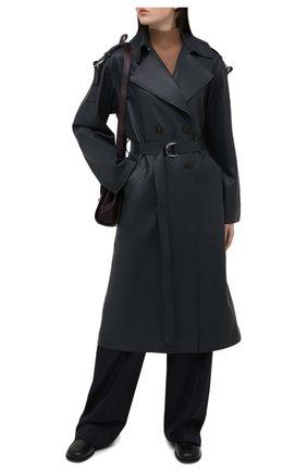 Женский кожаный плащ YVES SALOMON темно-синего цвета, арт. 21WYM20819APXX | Фото 2