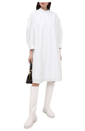 Женское хлопковое платье ALEXANDER MCQUEEN белого цвета, арт. 652468/QAAAD | Фото 2
