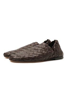 Мужские кожаные слиперы BOTTEGA VENETA темно-коричневого цвета, арт. 620304/VBTR0 | Фото 1 (Материал внутренний: Натуральная кожа; Стили: Кэжуэл)