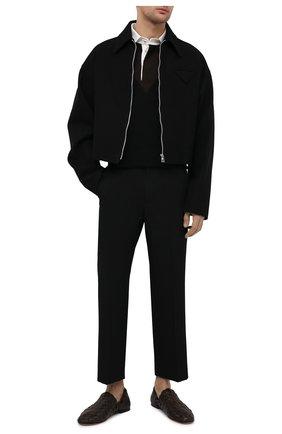 Мужские кожаные слиперы BOTTEGA VENETA темно-коричневого цвета, арт. 620304/VBTR0 | Фото 2 (Материал внутренний: Натуральная кожа; Стили: Кэжуэл)