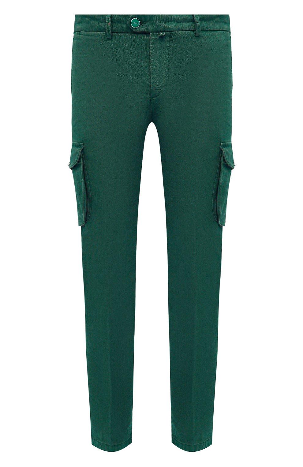 Мужские брюки-карго изо льна и хлопка KITON зеленого цвета, арт. UFPPCAJ07T38   Фото 1
