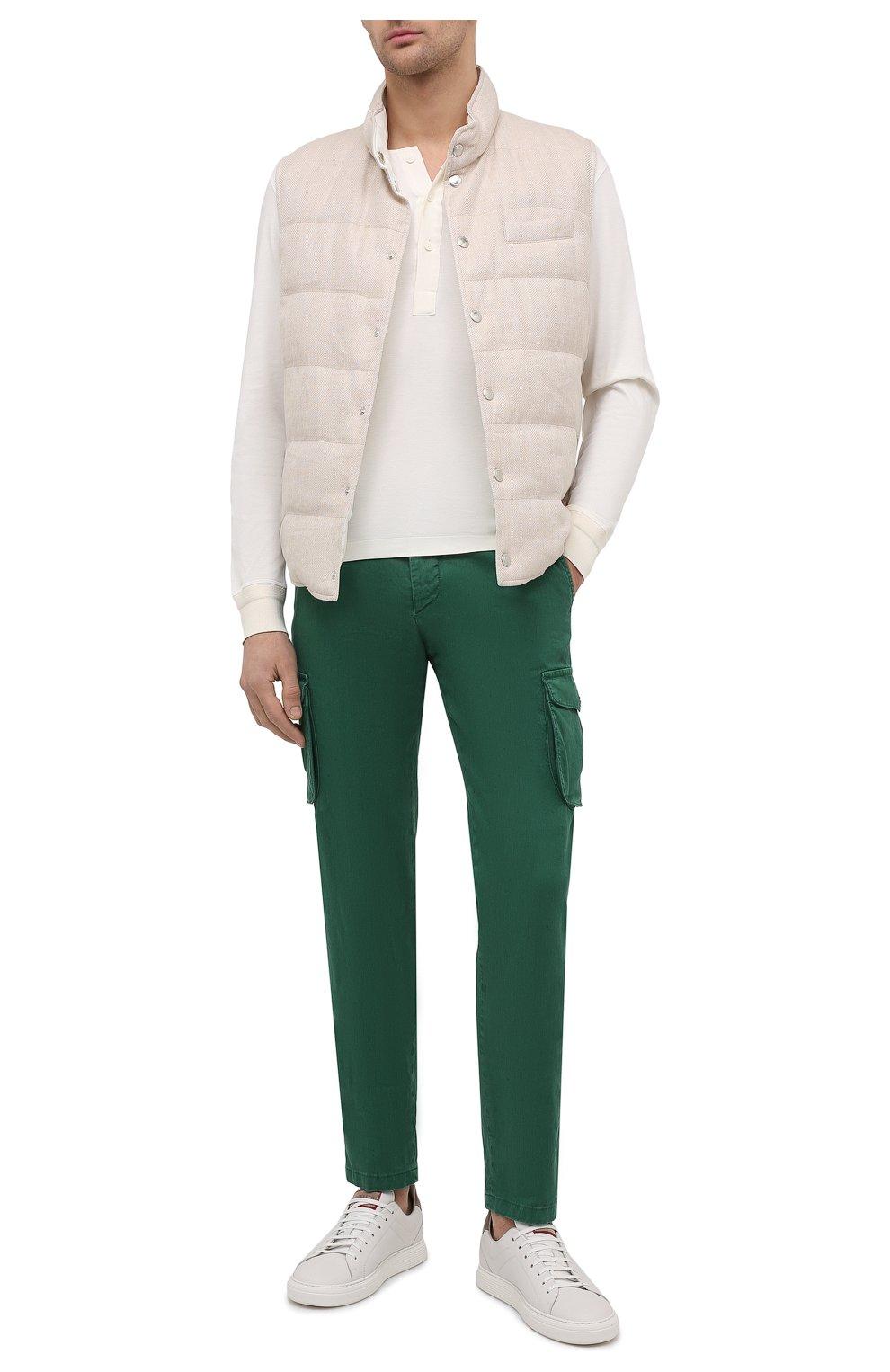 Мужские брюки-карго изо льна и хлопка KITON зеленого цвета, арт. UFPPCAJ07T38   Фото 2