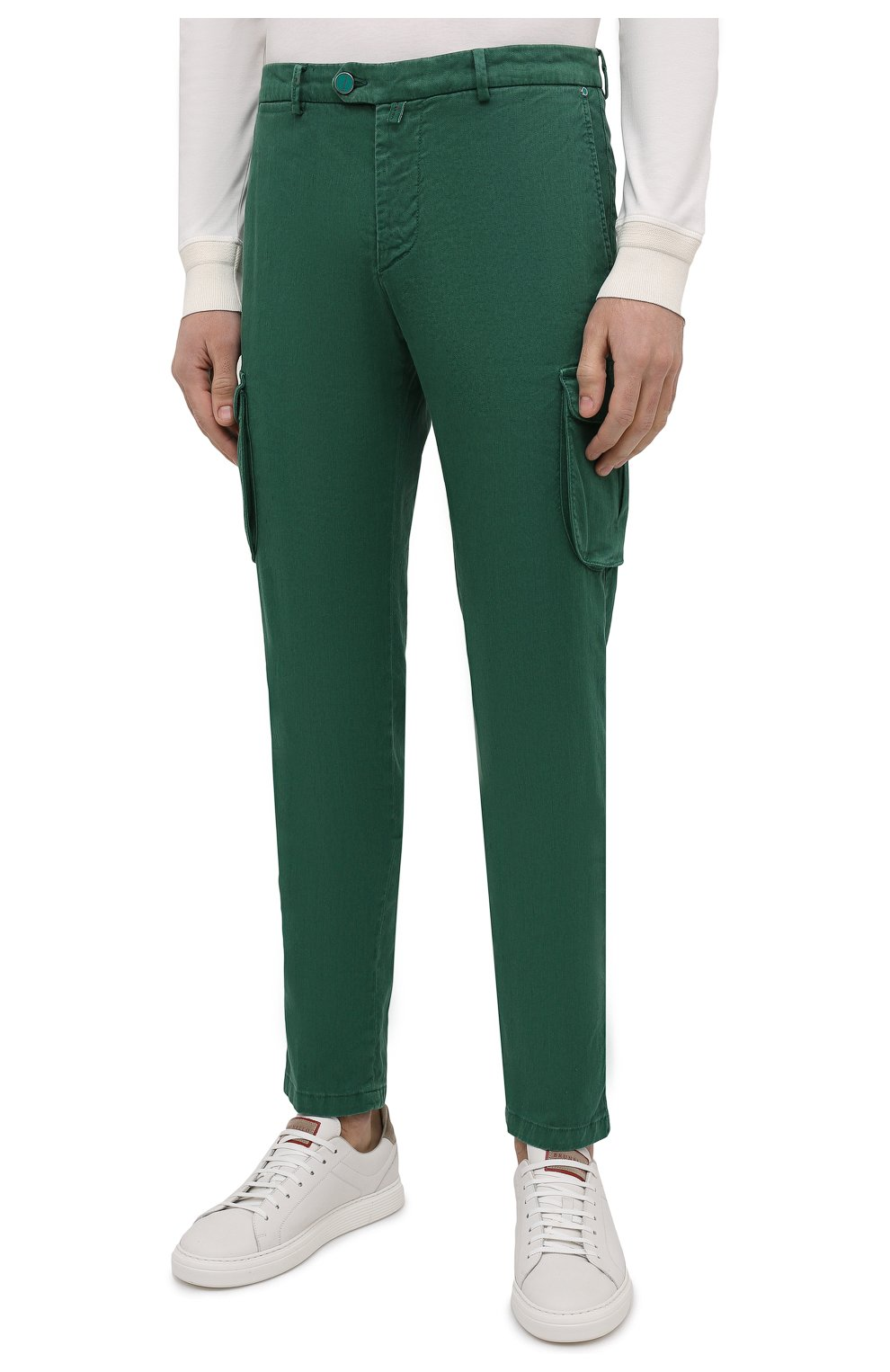 Мужские брюки-карго изо льна и хлопка KITON зеленого цвета, арт. UFPPCAJ07T38   Фото 3