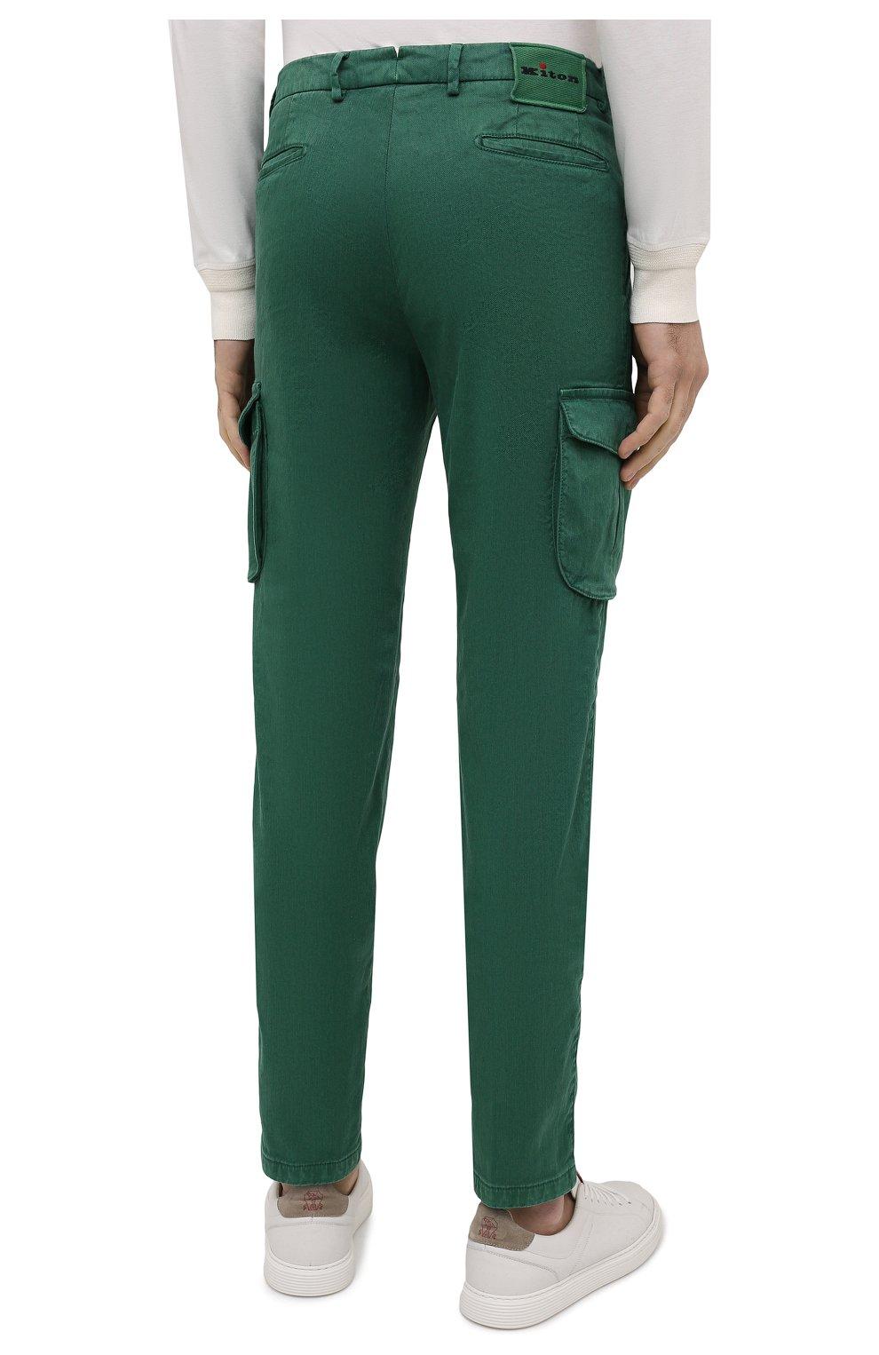 Мужские брюки-карго изо льна и хлопка KITON зеленого цвета, арт. UFPPCAJ07T38   Фото 4