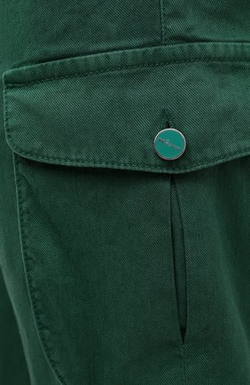 Мужские брюки-карго изо льна и хлопка KITON зеленого цвета, арт. UFPPCAJ07T38   Фото 5