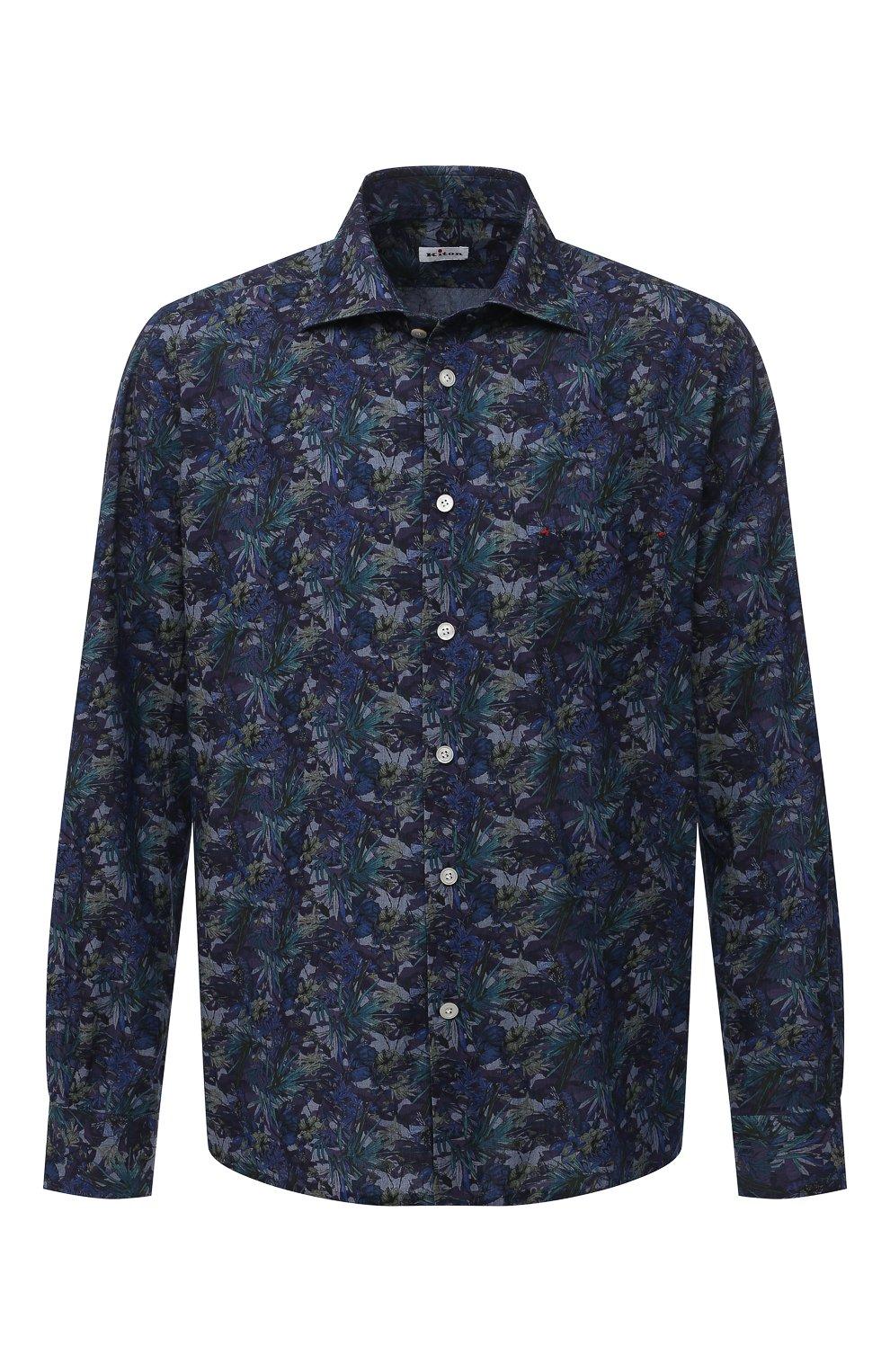 Мужская хлопковая рубашка KITON синего цвета, арт. UMCNERH0767702/46-50 | Фото 1 (Манжеты: На пуговицах; Рукава: Длинные; Рубашки М: Regular Fit; Воротник: Акула; Случай: Повседневный; Длина (для топов): Стандартные; Принт: С принтом; Материал внешний: Хлопок; Стили: Кэжуэл)