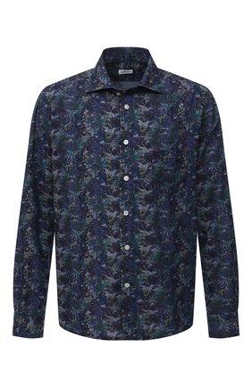 Мужская хлопковая рубашка KITON синего цвета, арт. UMCNERH0767702/46-50 | Фото 1