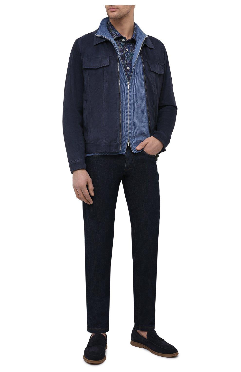 Мужская хлопковая рубашка KITON синего цвета, арт. UMCNERH0767702/46-50 | Фото 2 (Манжеты: На пуговицах; Рукава: Длинные; Рубашки М: Regular Fit; Воротник: Акула; Случай: Повседневный; Длина (для топов): Стандартные; Принт: С принтом; Материал внешний: Хлопок; Стили: Кэжуэл)