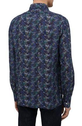 Мужская хлопковая рубашка KITON синего цвета, арт. UMCNERH0767702/46-50 | Фото 4 (Манжеты: На пуговицах; Рукава: Длинные; Рубашки М: Regular Fit; Воротник: Акула; Случай: Повседневный; Длина (для топов): Стандартные; Принт: С принтом; Материал внешний: Хлопок; Стили: Кэжуэл)
