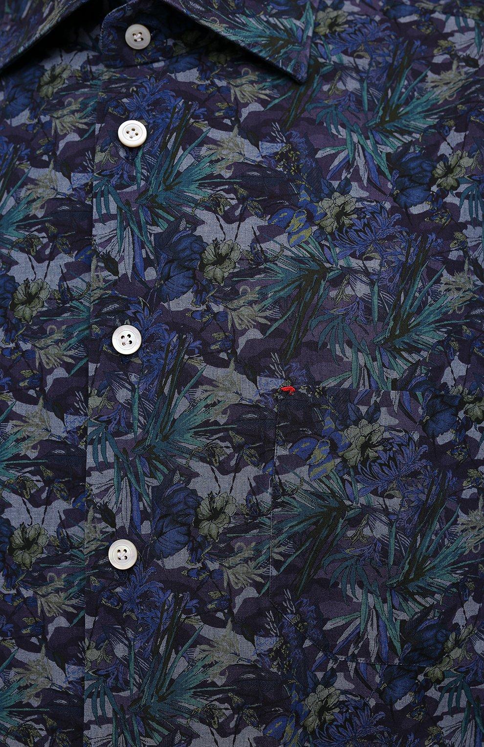 Мужская хлопковая рубашка KITON синего цвета, арт. UMCNERH0767702/46-50 | Фото 5 (Манжеты: На пуговицах; Рукава: Длинные; Рубашки М: Regular Fit; Воротник: Акула; Случай: Повседневный; Длина (для топов): Стандартные; Принт: С принтом; Материал внешний: Хлопок; Стили: Кэжуэл)