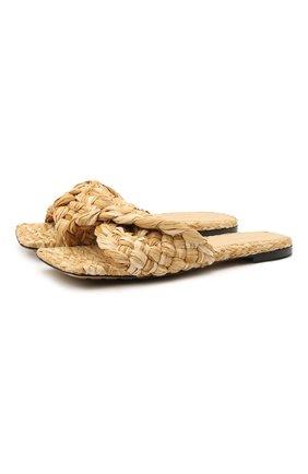 Женские текстильные шлепанцы stretch BOTTEGA VENETA бежевого цвета, арт. 652860/V0GM0 | Фото 1