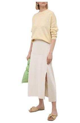 Женские текстильные шлепанцы stretch BOTTEGA VENETA бежевого цвета, арт. 652860/V0GM0 | Фото 2