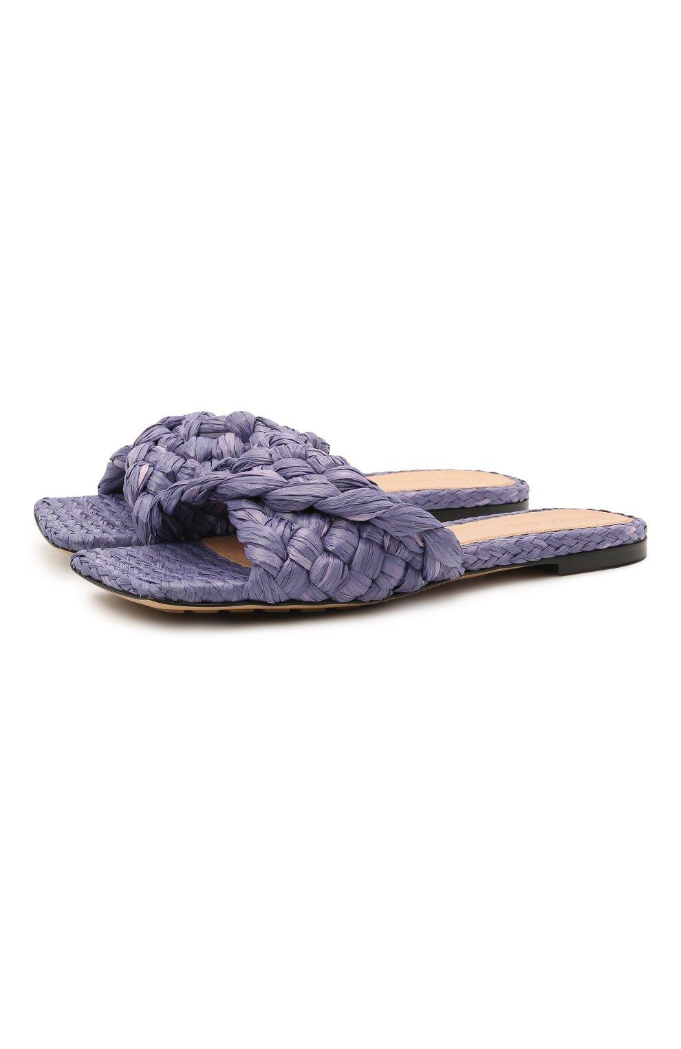 Женские текстильные шлепанцы stretch BOTTEGA VENETA сиреневого цвета, арт. 652860/V0GM0 | Фото 1