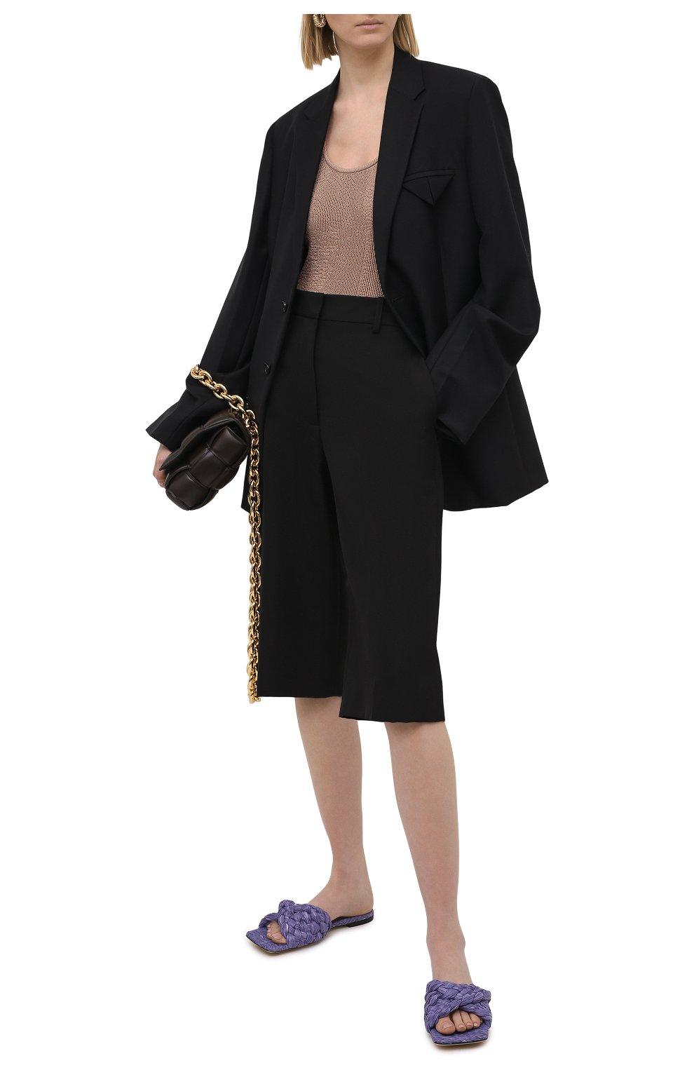 Женские текстильные шлепанцы stretch BOTTEGA VENETA сиреневого цвета, арт. 652860/V0GM0 | Фото 2