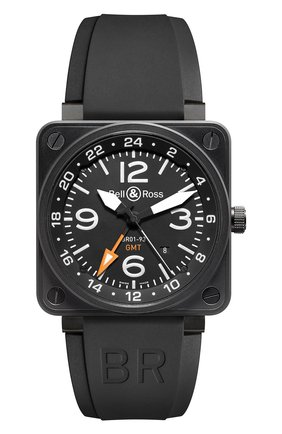 Мужские часы gmt 24h BELL & ROSS черного цвета, арт. BR0193-GMT   Фото 1