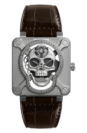 Мужские часы laughing skull BELL & ROSS серебряного цвета, арт. BR01-SKULL-SK-ST | Фото 1