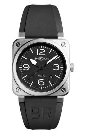 Мужские часы br 03-92 steel BELL & ROSS черного цвета, арт. BR0392-BLC-ST   Фото 1