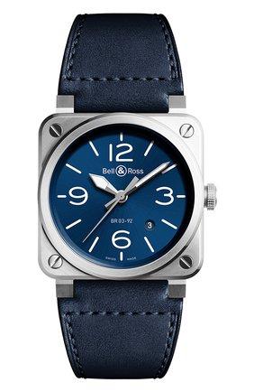 Мужские часы br 03-92 blue steel BELL & ROSS синего цвета, арт. BR0392-BLU-ST/SCA   Фото 1