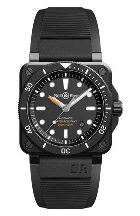 Мужские часы br 03-92 diver black matte BELL & ROSS черного цвета, арт. BR0392-D-BL-CE/SRB   Фото 1
