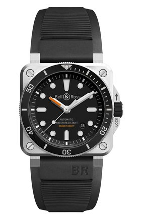 Мужские часы diver BELL & ROSS черного цвета, арт. BR0392-D-BL-ST/SRB   Фото 1