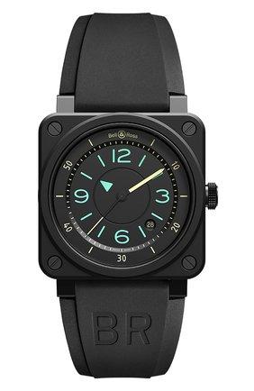 Мужские часы br 03-92 bi-compass BELL & ROSS черного цвета, арт. BR0392-IDC-CE/SRB   Фото 1