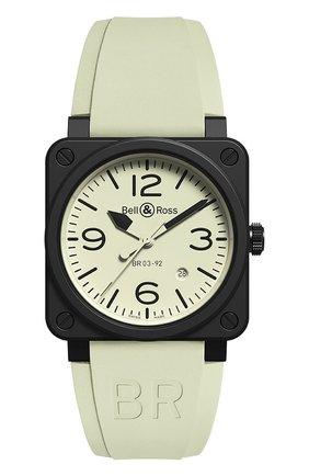Мужские часы br 03-92 full lum BELL & ROSS белого цвета, арт. BR0392-LUM1-CE/SRB | Фото 1