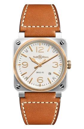 Мужские часы steel & rose gold BELL & ROSS белого цвета, арт. BR0392-ST-PG/SCA | Фото 1
