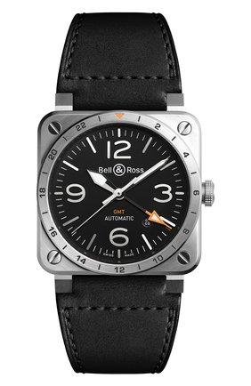 Мужские часы gmt BELL & ROSS черного цвета, арт. BR0393-GMT-ST/SCA | Фото 1