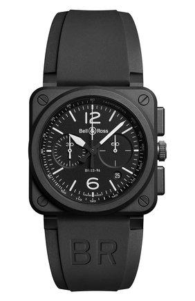 Мужские часы black matte chrono BELL & ROSS черного цвета, арт. BR0394-BL-CE | Фото 1