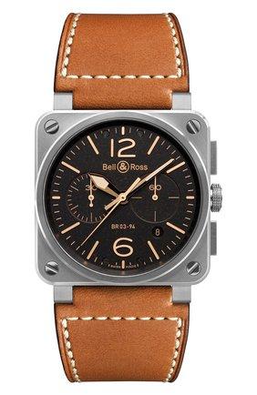 Мужские часы golden heritage chronograph BELL & ROSS черного цвета, арт. BR0394-ST-G-HE/SCA | Фото 1