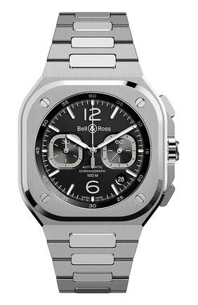 Мужские часы br 05 chrono black steel BELL & ROSS черного цвета, арт. BR05C-BL-ST/SST | Фото 1