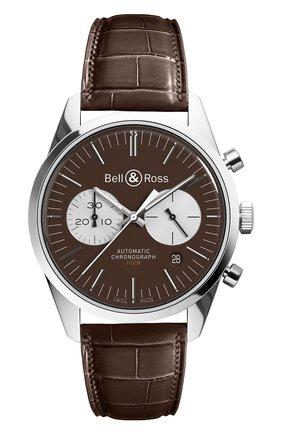 Мужские часы officer brown BELL & ROSS коричневого цвета, арт. BRG126-BRN-ST/SCR | Фото 1
