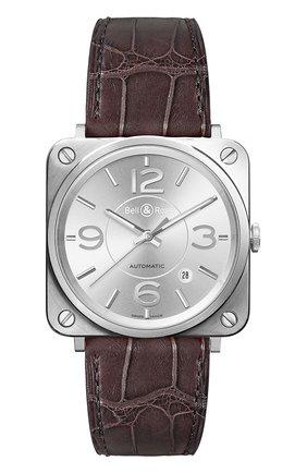 Мужские часы officer silver BELL & ROSS серебряного цвета, арт. BRS92-SI-ST/SCR | Фото 1