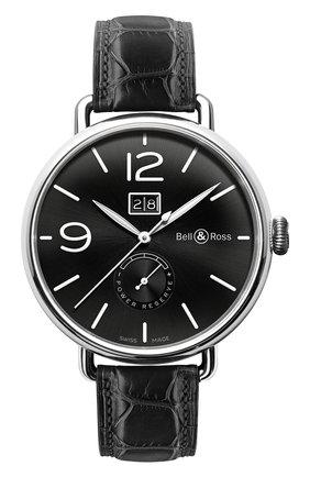 Мужские часы grande date & reserve de marche BELL & ROSS черного цвета, арт. BRWW190-BL-ST/SCR | Фото 1