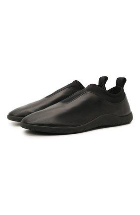 Мужские кожаные кроссовки BOTTEGA VENETA черного цвета, арт. 651305/V03V1 | Фото 1 (Материал внутренний: Натуральная кожа; Подошва: Плоская; Стили: Гранж)