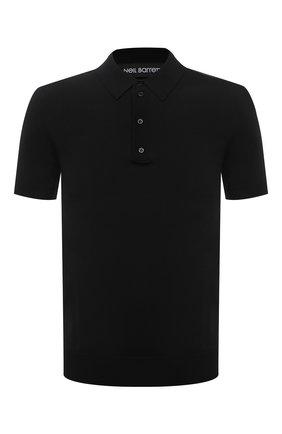 Мужское поло NEIL BARRETT черного цвета, арт. PBMA973E/Q600 | Фото 1