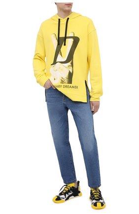 Мужской хлопковое худи DIEGO VENTURINO желтого цвета, арт. SS21-DV FLH VDL | Фото 2